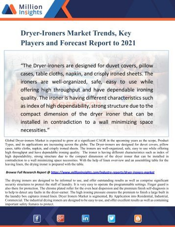 Dryer-ironers Market Trends, Key Players and Forecast Report to 2021