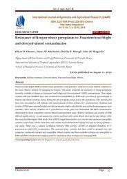 Resistance of Kenyan wheat germplasm to Fusarium head blight and deoxynivalenol contamination - IJAAR