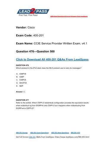 Free Sharing Of Cisco 400-201 Brain Dumps From Lead2pass (476-500)