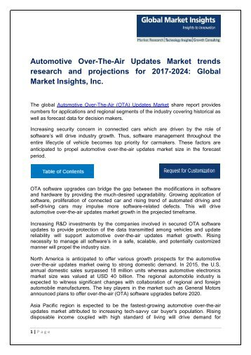 Automotive Over-The-Air Updates Market analysis research and trends report for 2017-2024