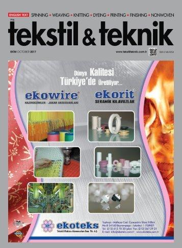 Tekstil Teknik Dergisi Ekim 2017 Sayısı