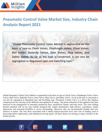 Pneumatic Control Valve Market Size, Industry Chain Analysis Report 2021