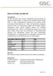 Daten und Fakten der  QSC AG