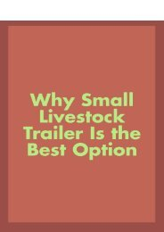 Why Small Livestock Trailer is the Best Option