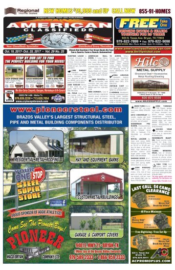 American Classifieds Oct. 19th Edition Bryan/College Station