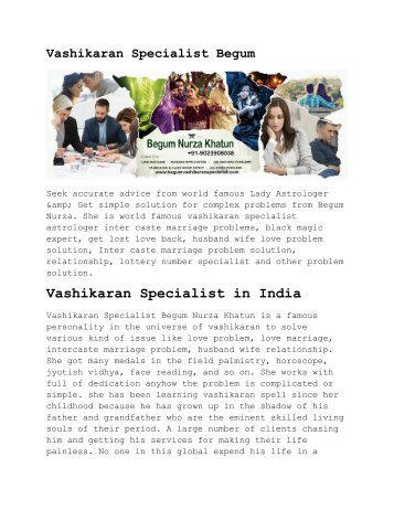 Vashikaran Specialist Begum - Love Lady Astrologer Expert's