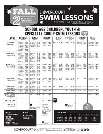 Dovercourt Fall 2 2017-18 swim lessons