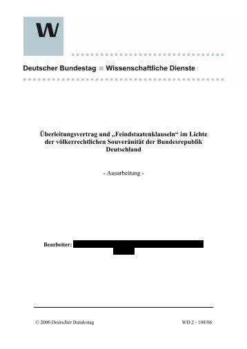 BundestagDeutscher Wissenschaft.Dienste Überleitungsvertrag 2006