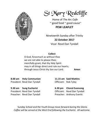 St Mary Redcliffe Church Pew Leaflet - October 22 2017