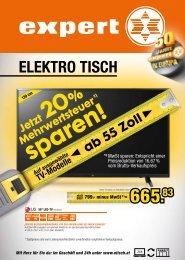Flugblatt Elektro Tisch - 20% MwSt sparen bei Fernseher
