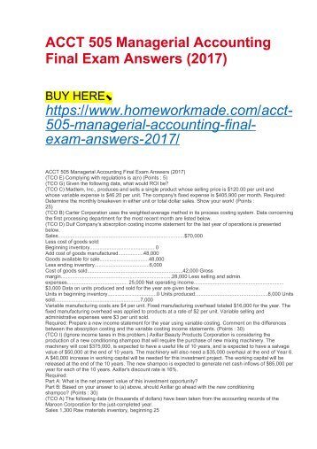 ACCT 505 Managerial Accounting Final Exam Answers (2017)