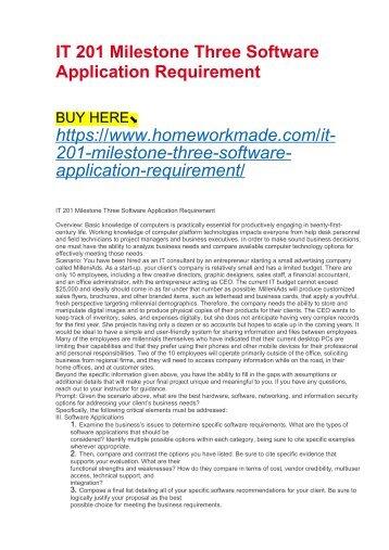IT 201 Milestone Three Software Application Requirement