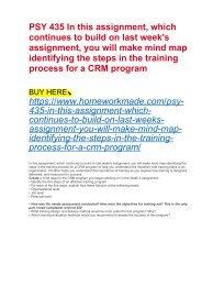 PSY 435 In this assignment, which continues to build on last week's assignment, you will make mind map identifying the steps in the training process for a CRM program