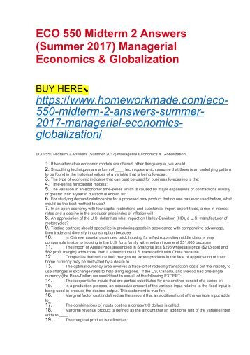 managerial economics and globalization eco 550 Midterm exam 1 eco 550 strayer managerial economics - copy   managerial economics and globalization eco 550 - spring 2011 register now.