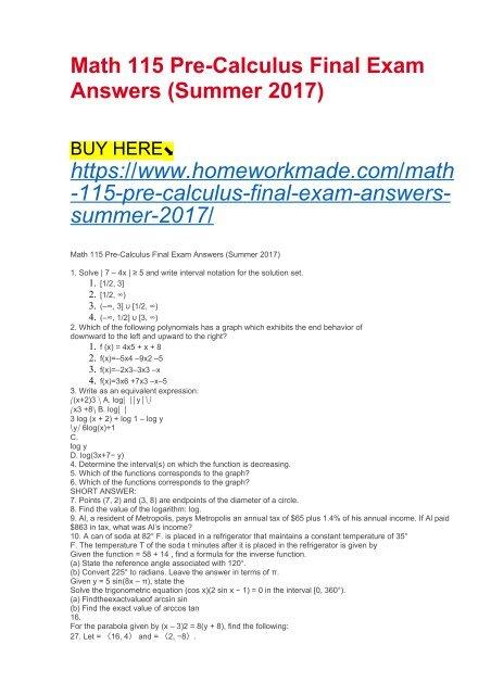 Math 115 Pre-Calculus Final Exam Answers (Summer 2017)
