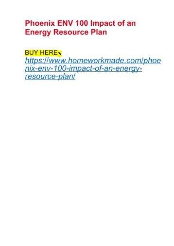 Phoenix ENV 100 Impact of an Energy Resource Plan