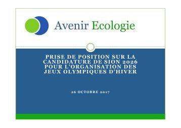 Avenir Ecologie - Sion2026