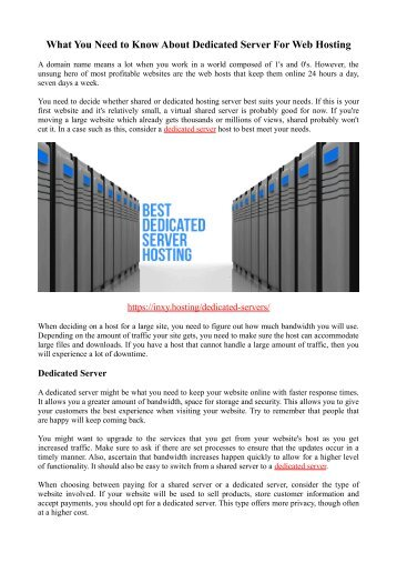 What You Need to Know About Dedicated Server For Web Hosting
