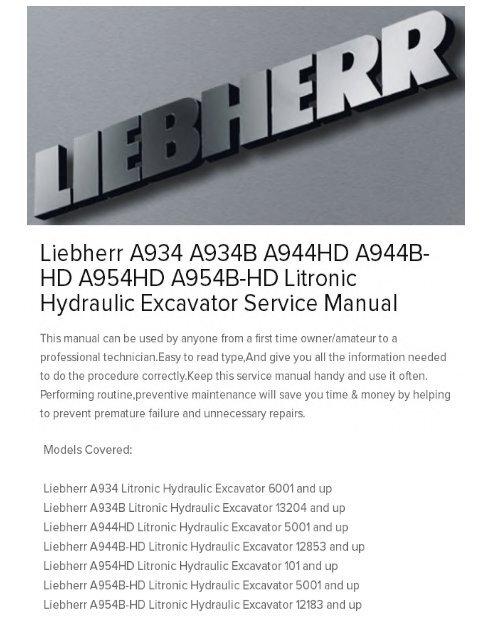 Liebherr A934 A934B A944HD A944B-HD A954HD A954B-HD Litronic