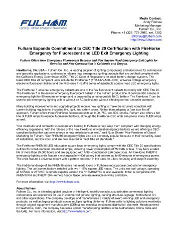 Fulham Expands Commitment to CEC Title 20 Certification with FireHorse Emergency for Fluorescent and LED Exit Emergency Lighting