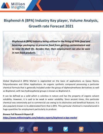 Bisphenol-A (BPA) Industry Key player, Volume Analysis, Growth rate Forecast 2021