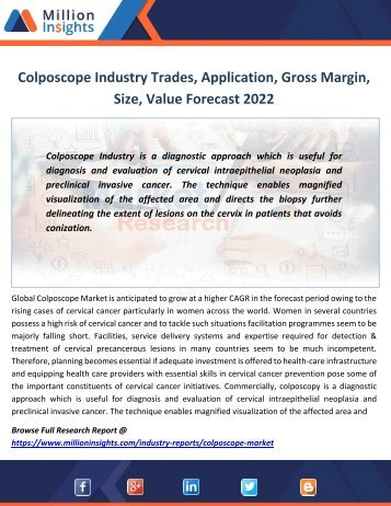 Colposcope Industry Trades, Application, Gross Margin, Size, Value Forecast 2022