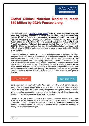 Clinical Nutrition Market to reach $80 billion by 2024