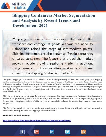 Shipping Containers Market Segmentation and Analysis by Recent Trends and Development 2021
