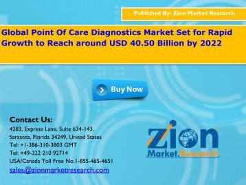 Point Of Care Diagnostics Market to Approach USD 40.50 Billion by 2022