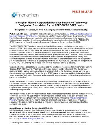 Monaghan Medical Corporation Receives Innovative Technology Designation from Vizient for the AEROBIKA® OPEP device