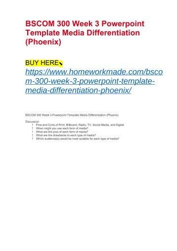 BSCOM 300 Week 3 Powerpoint Template Media Differentiation (Phoenix)