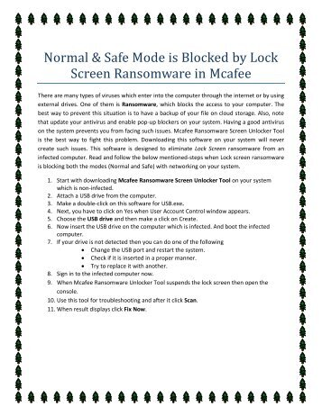 Normal & Safe Mode is Blocked by Ransomware in McAfee