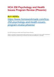 HCA 250 Psychology and Health Issues Program Review (Phoenix)