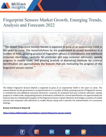 Fingerprint Sensors Market Growth, Emerging Trends, Analysis and Forecasts 2022