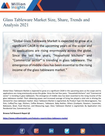 Glass Tableware Market Size, Share, Trends and Analysis 2021