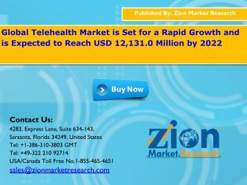 Telehealth Market Pegged to Rise US$12,131.0 Mn by the end of 2022
