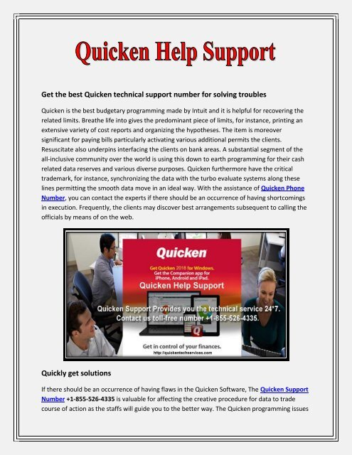 Quicken Tech Support Number +1-855-526-4335