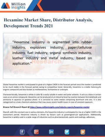 Hexamine Market Share, Distributor Analysis, Development Trends 2021