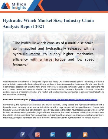 Hydraulic Winch Market Size, Industry Chain Analysis Report 2021
