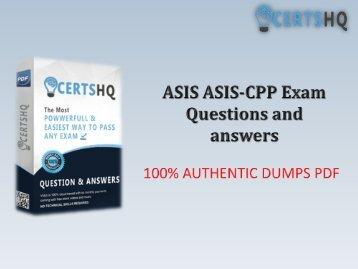 Latest ASIS-CPP Exam PDF Practice Exam Questions