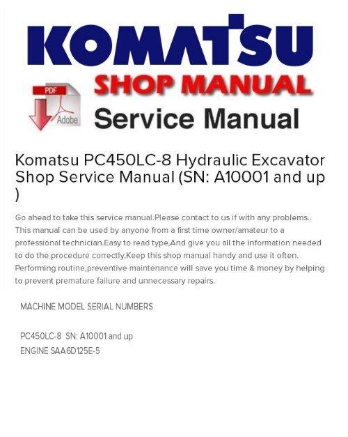 Komatsu PC450LC-8 Hydraulic Excavator Shop Service Manual
