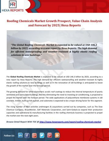 Roofing Chemicals Market Growth Prospect, Value Chain Analysis and Forecast by 2025 Hexa Reports