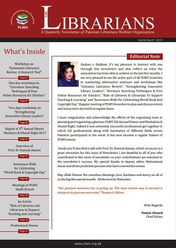 The Librarian: A Quarterly Newsletter Volume 4 No 1, 2017