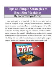 Tips on Simple Strategies to Beat Slot Machines