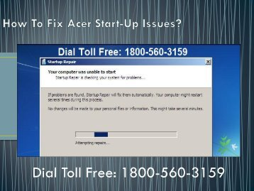 Dial 18005603159 to Fix Acer Start-Up Issues