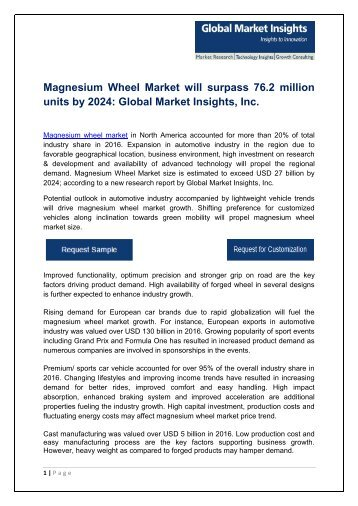 Magnesium Wheel Market revenue in APAC to surpass USD 8.2 billion by 2024