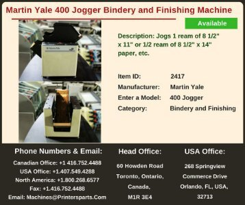 Buy Used Martin Yale 400 Jogger Bindery and Finishing Machine