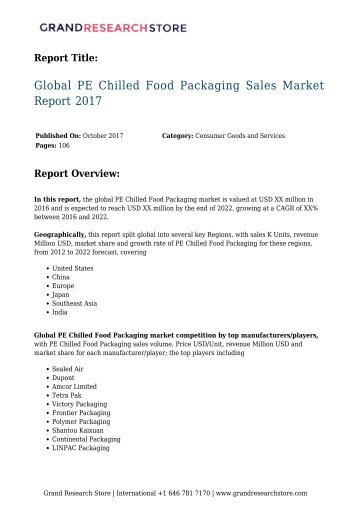 Global PE Chilled Food Packaging Sales Market Report 2017