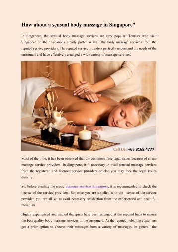 How about a sensual body massage in Singapore