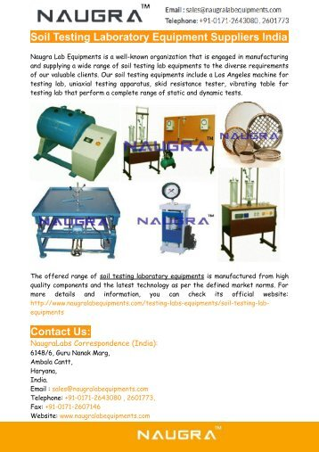 Soil Testing Laboratory Equipment Suppliers From India